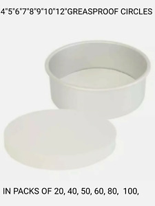 GREASEPROOF PAPER CIRCLES CAKE BAKING LINERS. 4, 5, 6, 6.5, 7 ,8 ,9,10,12, INCH