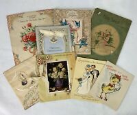 Vintage 1930 - 1940s Greeting Card Birthday Scrapbook Ephemera Paper Lot of 9 e1