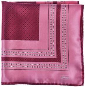Brioni Pocket Square Handmade Silk Satin Pink Purple Geometric 03PS0113 $110
