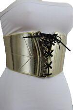 Women Wide Faux Leather Stretch Cinch Corset Elastic Fashion Belt Plus M L XL