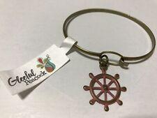 Bracelet Ship Wheel Nautical Nwt Gleeful Peacock Antique Brass Bangle Charm