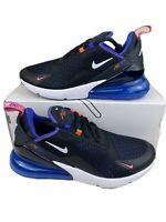 New Men's Nike Air Max 270 Running Shoes Size 8.5 Black White Blue DC1858-001