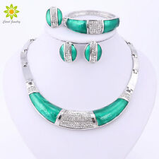 Women Silver Plated Green Enamel Crystal Necklace Sets Wedding Party Jewelry Set
