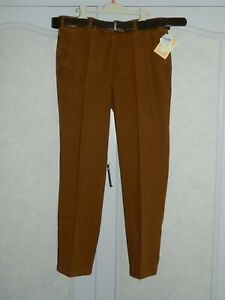 Pantalon homme marron U-Band Calabria Taille élastiquée et ceinture T42 Neuf