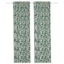 ALPKLÖVER Ikea Green White Floral Pattern 57x98 Pair Of Curtains Privacy