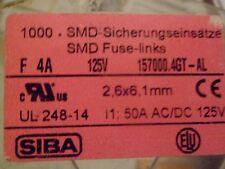 SIBA F4A 125V SMD-Sicherungseinsätze Fuse-links 157000.4GT-AL *Neu* *5 Stück*