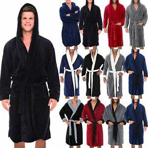 Men Soft Hooded Bathrobe Soft Dressing Gown Robe Towelling House Coat Loungewear