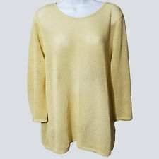 Chicos Womens Yellow Open Knit 3/4 Sleeve Sweater XL (3) kfp1