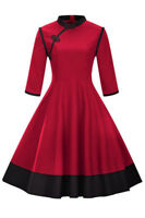 Retro Women's Standing Collar Dress Mid Sleeve A-line Casual Party Dresses