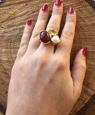 Anello argento 925 dorato con Topazio Perla acqua dolce Corniola Made in Italy