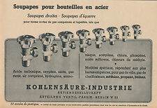 Publicité ancienne soupapes pour bouteilles en acier 1943 issue de magazine