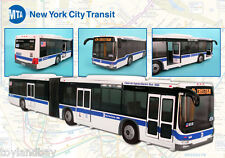 "NYC New York City Mta Metro Articulated Hybrid Electric Bus 1:43 Scale 16"" Long"