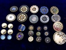 Beautiful Antique Victorian Buttons Celluloid And Metal With Glass Insets