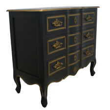 New French Provincial Dynasty Style Chest of Drawers Tallboy Dresser Black