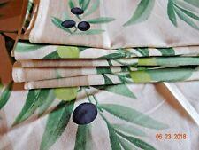 "NWOT La Cigale Provence France 116"" Tablecloth & 8 Napkins Olives Black Acrylic"