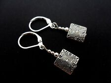 A PAIR OF  TIBETAN SILVER DANGLY SQUARE  LEVERBACK HOOK  EARRINGS. NEW.