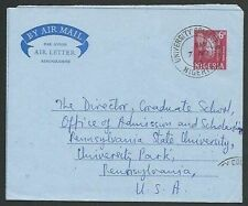 NIGERIA 1963 6d aerogramme to USA - UNIVERSITY COLLEGE BO cds..............64076