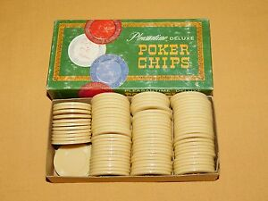 VINTAGE TOY 1963 PACIFIC GAME  89 PLEASANTIME DELUXE WHITE PLASTIC POKER CHIPS