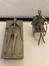 Lot of 2 Folk Art Metal Work Sculptures Made In Spain