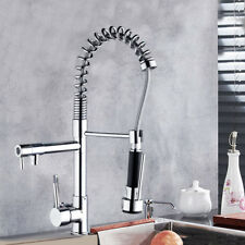 Chrome Kitchen Sink Swivel Pull Down Spout Mixer Faucet 2 Function Brass Tap