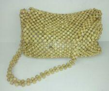 Liz Claiborne Beaded Purse Shoulder Bag Small Natural Boho Hippie Textured Flaw