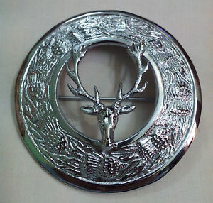"Stag Head Kilt  Fly Plaid Brooch Silver Finish 3""/Scottish Fly Plaid Brooch Pins"