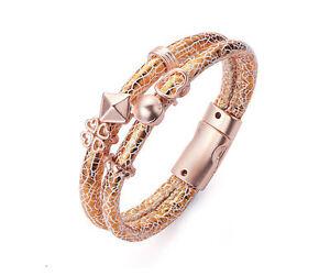 Matte Rose Gold & White 2 Row Magnetic Bracelet Gold Heart,Clover , Pyramid