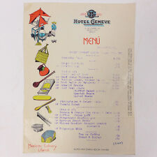 Vintage Hotel Geneve Dining Lunch Mexico City Culinary Paper Menu 9.10""