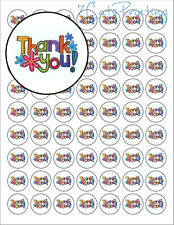"(63) Envelope Seals Thank You with Flowers Labels Stickers 1"" Round Circles"