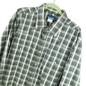 Wrangler Western Shirt Men's XXL 2XL Pearl Snap Cowboy Gray Plaid Big