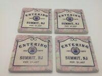 Summit NJ Sign Coasters Stone Set of 4 Entering Population Est Date History Cork