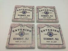 Summit NJ Sign Coasters Stone Set of 4 Entering Population Est Date History Cork