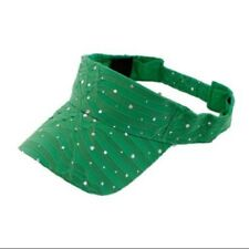 LADIES SPARKLE RHINESTONE VISOR HAT--- GREEN SUN VISOR  --- NEW -- LOWEST PRICE
