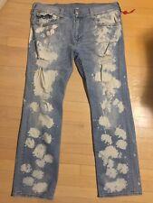 True Religion 38x34 Straight Flap Horseshoe Acid Wash Distressed Destroyed