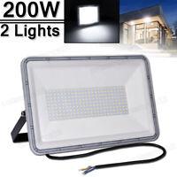2X 200W LED Flood light Cool White Arena Outdoor Garden Yard SpotLight IP67 110V