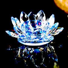 Lotus Tea Light Candle Holder Blue Colour Crystal Glass Flower Rotating Base Spi