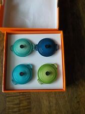 Le Creuset Cool Mint Caribbean Palm Marseille Magnet set of 4 in box