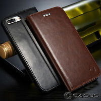 Genuine Leather Wallet Card Holder Case Magnetic Cover for iPhone X & 8/7/6 Plus