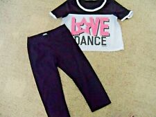 Justice Dance Graphic cropped sports jersey style top & cropped Pant size 14