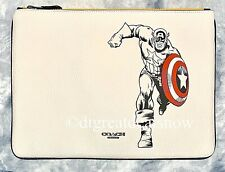 NEW COACH Marvel Chalk Captain America Leather Large Pouch 1827