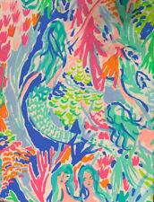 "AUTHENTIC PB Lilly Pulitzer Mermaid Cove  10"" x 10"" Organic Cotton Fabric Square"
