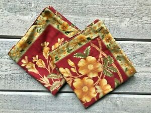 """April Cornell Pillow Covers Red Gold Floral Cotton 14"""" Set/2"""