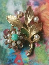 Vintage Flower Brooch - Signed Hollywood - rhinestones pearls. Gold tone