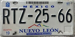 Mexico Nuevo Leon Mexican Licence License Number Plate RTZ-25-66