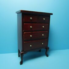 Dollhouse Miniature Bedroom High Chest Dresser in Mahogany ~ T3203