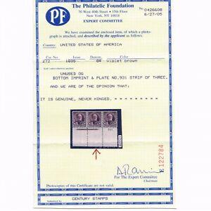 EXCEPTIONAL GENUINE SCOTT #272 F-VF MINT OG NH PF CERT 1895 VIOLET BROWN SHERMAN