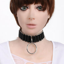 Women Leather Circle pendant Collar Necklace Slave Tease SM Adult Game Sex Toy