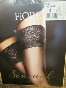 FIORE MILENA LACE TOP HOLD UP STOCKINGS 3 SIZES FINE EUROPEAN HOSIERY GRAY