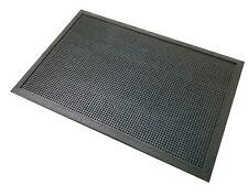 Black Rubber Doormat Low Profile Scraper 56cm x 38cm Home Outdoor Outside