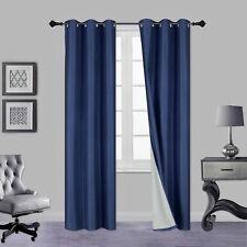 SOLID GROMMET PANEL WINDOW CURTAIN DARKENING FOAM LINED BLACKOUT 1PC NAVY BLUE